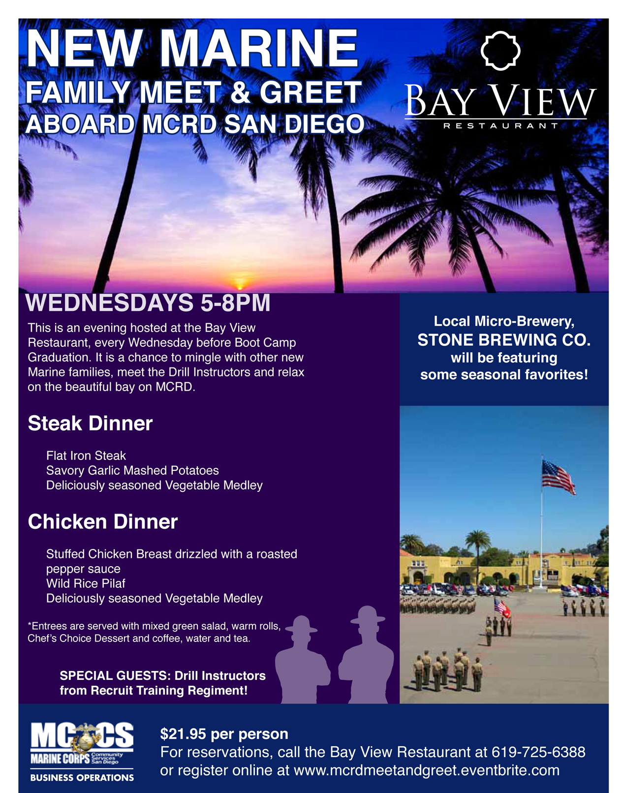 Official New Marine Family Meet and Greet at the Bay View on MCRD San Diego