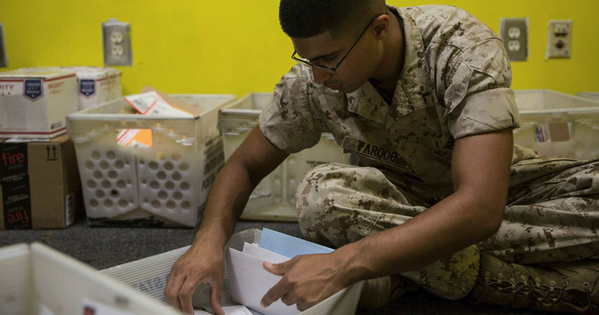 Before Mail Reaches Recruits Marine Postal Clerks Work Tirelessly Monday Through Saturday To Get It Sorted And Ensure Is Delivered In