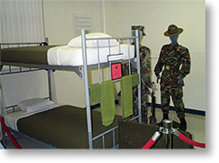MCRD San Diego Museum display, the Rack in recruit barracks